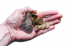 Garść odizolowywająca na bielu pieniądze Zdjęcie Stock