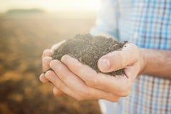 Garść ziemia, zakończenie w górę rolnik ręk fotografia stock