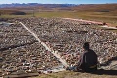 Gar tibetana munkar som sitter på kullen på solljus i Yarchen Royaltyfri Fotografi