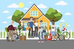 Garaż sprzedaż na ulicie ilustracji