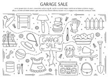 Garaż sprzedaży elementy ilustracja wektor