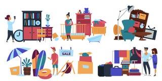 Garaż sprzedaży osoby sprzedawca sprzedaje starego materiał w domu royalty ilustracja