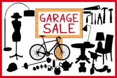 Garaż sprzedaży woodboard czerwona cleanout ilustracja z drewnianym signboard royalty ilustracja
