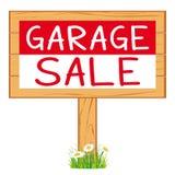 Garaż sprzedaży woodboard czerwonego cleanout ikony wektorowy signboard royalty ilustracja