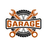 garaż Stacja obsługi Samochód naprawa Projekta element dla loga, los angeles ilustracja wektor