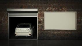 Garaż z Rozpieczętowanym Rolkowym drzwi świadczenia 3 d Obrazy Royalty Free