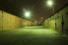 Garaże przy nocą Zdjęcia Royalty Free
