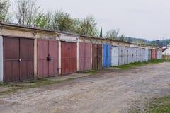 Garaże w Roznov strąku Radhostem zdjęcia royalty free