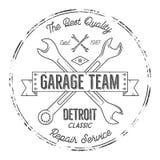 Garażu rocznika trójnika projekta usługowe grafika, Detroit klasyk, remontowej usługa typografii druk Czarny koszulka znaczek ilustracja wektor
