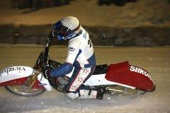 Gara motociclistica su pista del ghiaccio Immagine Stock