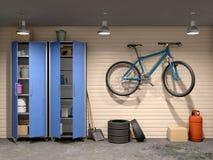 garaż z wiele rzeczami i bicyklem, Zdjęcia Stock