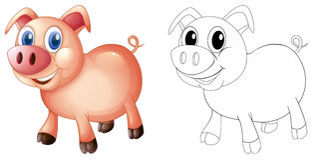Garabatea el animal de elaboración para el cerdo stock de ilustración