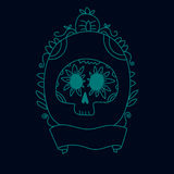 Garabatee el cráneo del azúcar en un azul del marco, un Halloween o un fondo de dia de muertos, vector Foto de archivo