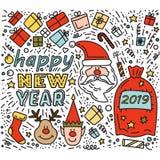Garabatee el duende de dibujo de los ciervos de Rudolph de los regalos de la Navidad de Santa Claus stock de ilustración