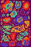 Garabatee el fondo colorido psicodélico con el Orn surrealista abstracto Foto de archivo
