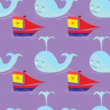 Garabatee el modelo inconsútil en el tema del mar con la ballena y el velero Foto de archivo libre de regalías
