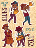 Garabatee la banda del estilo, del jazz o de los azules de la música de los músicos in 1920 Fotografía de archivo libre de regalías