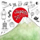Garabatee la colección dibujada mano de iconos de Japón con la montaña de la acuarela Elementos de la cultura de Japón para el di Imagen de archivo