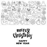 Garabatee la Feliz Navidad de los iconos del vector y la Feliz Año Nuevo Fotografía de archivo