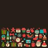 Garabatee la Feliz Navidad de los iconos del vector y la Feliz Año Nuevo Foto de archivo libre de regalías