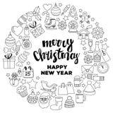 Garabatee la Feliz Navidad de los iconos del vector y la Feliz Año Nuevo Imagen de archivo libre de regalías