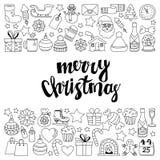 Garabatee la Feliz Navidad de los iconos del vector y la Feliz Año Nuevo Fotografía de archivo libre de regalías