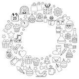 Garabatee la Feliz Navidad de los iconos del vector y la Feliz Año Nuevo Imagenes de archivo