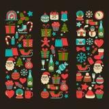 Garabatee la Feliz Navidad de los iconos del vector y la Feliz Año Nuevo Fotos de archivo