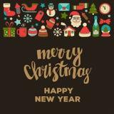 Garabatee la Feliz Navidad de los iconos del vector y la Feliz Año Nuevo Imágenes de archivo libres de regalías