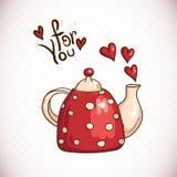 Garabatee la tarjeta de felicitación con la tetera y los corazones rojos Imagenes de archivo