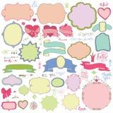 Garabatee las etiquetas coloreadas, insignias, elemento de la decoración Amor Foto de archivo libre de regalías