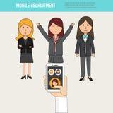 Garabatee a las mujeres de negocios con el vect de reclutamiento móvil del recurso humano stock de ilustración