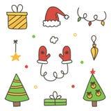 Garabatee, sistema colorido dibujado mano de la Navidad del invierno, colección aislada libre illustration