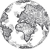 Garabato bosquejado tierra del planeta Foto de archivo