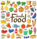 Garabato coloreado de la comida Fotos de archivo