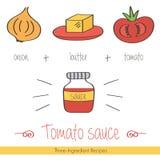 Garabato colorido, receta dibujada mano de la salsa de tomate con los ingredientes Imagenes de archivo