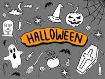 Garabato de Halloween con la bandera llena negra del fondo y del color en el centro libre illustration