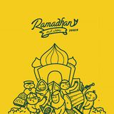 Garabato de Ilustration que pone letras al kareem ramadhan, ya marhaban ramadhan ilustración del vector