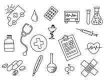 Garabato de la atención sanitaria blanco y negro con estilo del esquema ilustración del vector