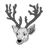Garabato de la cabeza de los ciervos stock de ilustración