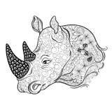 Garabato de la cabeza del rinoceronte ilustración del vector