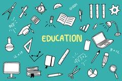 Garabato de la educación con el objeto del color y de las educaciones como regla del cuaderno ilustración del vector