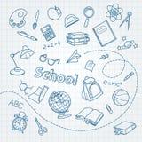 Garabato de la escuela en fondo del vector de la página del cuaderno Fotos de archivo