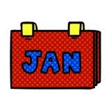garabato de la historieta de un calendario con enero stock de ilustración