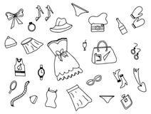 Garabato de la moda de la mujer con vector blanco y negro del estilo del esquema libre illustration
