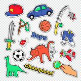 Garabato de la niñez del muchacho con la bola, los juguetes y la ropa Etiquetas engomadas, insignias y remiendos de los niños ilustración del vector