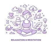 Garabato de la relajación y de la meditación ilustración del vector