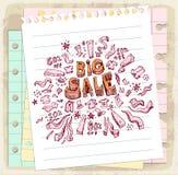 Garabato de la venta en la nota de papel, ejemplo del vector ilustración del vector