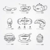 Garabato de los iconos del menú dibujado en fondo de la pizarra Vintage del vector Fotos de archivo libres de regalías