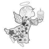 Garabato del ángel de Pascua stock de ilustración